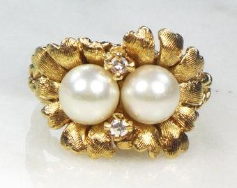 Vintage Pearl Diamond Ring Gold Pearl Ring 14k Gold Diamond Pearl Ring Cultured Pearl Ring Floral Pearl Ring Floral Ring June Birthstone