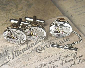 Steampunk Cuff Links Cufflinks w Tie Tack/Lapel Pin - TORCH SOLDERED - Vintage Silver Oval ELGIN Watch Movements - Birthday Anniversary Gift