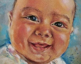 Pastel Portrait, Baby Portrait, Commissioned Pastel Portrait, Wall Decor