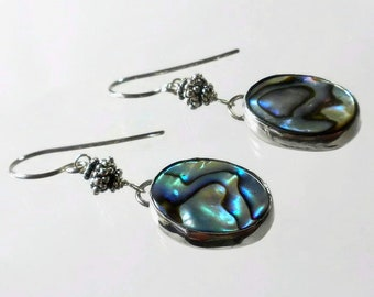 Abalone Earrings Designer Earrings Sterling Silver Shell Earrings Abalone Shell Earrings Silversmith Bezel