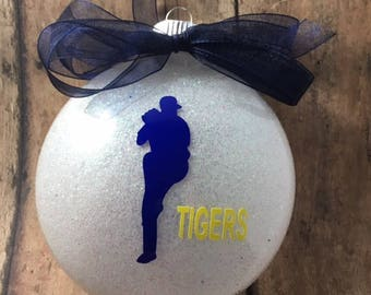 Personalized Baseball Pitcher/Player Glitter Christmas Ornament