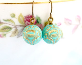 Drop Turquoise Earrings - Vintage Bead Earrings - Ornate Earrings - Turquoise Jewelry - Dangle Earrings - Gift For Woman - Gift For Her