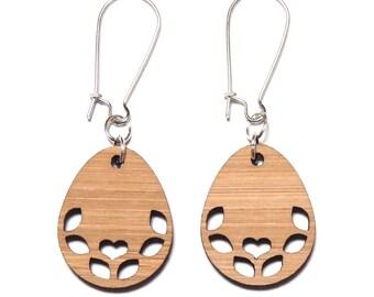 Sweetheart Bamboo Dangle Earrings, Folk Earrings, Boho Earrings, Wooden Earrings, Bamboo Earrings, Birthday Gift For Her, Eco Friendly Gift
