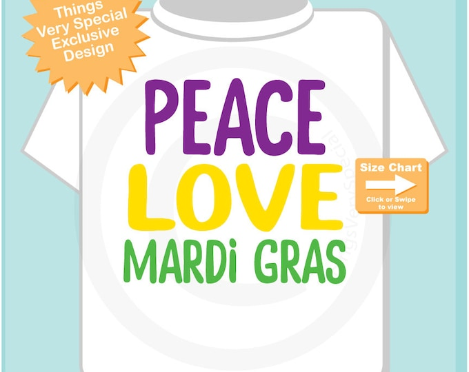 Peace Love Mardi Gras on a Shirt or Onesie Bodysuit, Mardi Gras Shirt for Toddlers and Kids (12182014c)