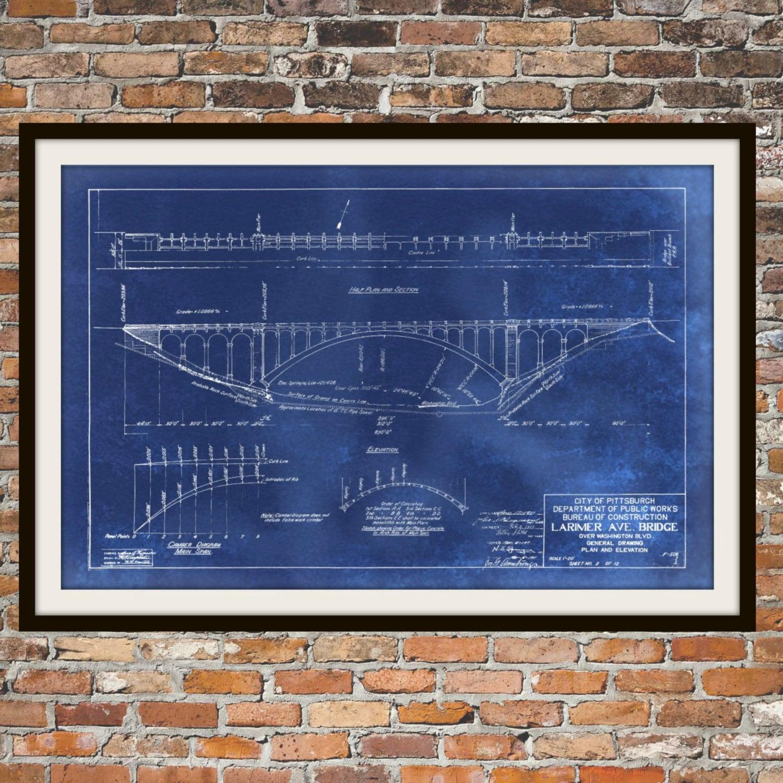 Blueprint art of larimer bridge pittsburgh technical drawings zoom malvernweather Image collections