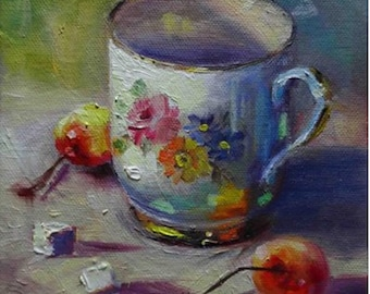 Little White Mug, Original Oil Painting, 6x6, finished 3/4 sides, ready for hanging or framig.