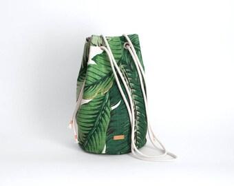 Cross body bag beach bag handbag tropical palm leaf / linen