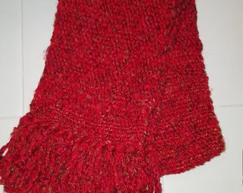 Red hand-woven scarf, 6 1/2 inches X 52 inches
