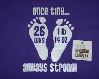 Preemie Footprints with Gestation and weight short sleeve one piece