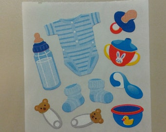 Sandylion Stickers Scrapbooking vintage Baby Boy onesie, bottle, pacifier  (1 mod)