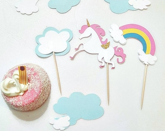 Unicorn and Rainbow Theme Cupcake Toppers for Birthdays and Baby Showers, 20 pcs, Baby Shower Cupcake Toppers, Unicorn 1st Birthday