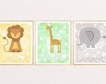 3 Jungle Animal Bubble Bkg Prints Pictures for Baby Kids bedroom Nursery Wall Art Room Decor. 10x8in Unframed. Giraffe Elephant Lion