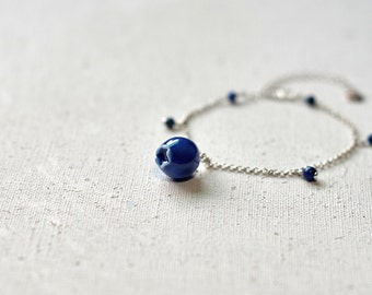 Blueberry bracelet, Ceramic bracelet Lapis bracelet Silver bracelet Woodland bracelet Forest bracelet Everyday bracelet Birthday gift-boohua