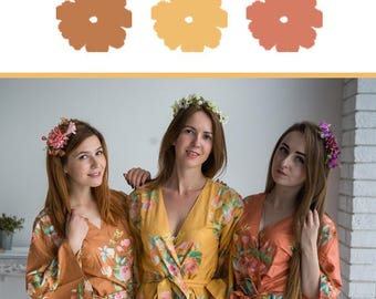 Mustard, Copper and Rust Wedding Color Bridesmaids Robes - Premium Soft Rayon - Wider Belt and Lapels - Wider Kimono sleeves