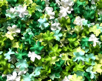 Mixed Green Tone White Flowers Mulberry paper for Craft & D.I.Y 50, Mulberry paper, Mixed Green Tone White , Flowers Mulberry