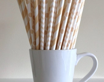 Cream Striped, Chevron, Polka Dot Paper Straws Ivory, Tan, Beige Party Supplies Party Decor Bar Cart Cake Pop Sticks  Graduation