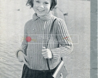 Girl's Reefer Coat DK 4-9 years Patons & Baldwins 81 Vinatge Knitting Pattern PDF instant download