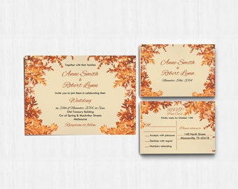 Autumn Wedding Invitation, autumn leaves, Autumn Colors, Printed wedding invite, Printable Digital file, Wedding Invitation, rustic invite