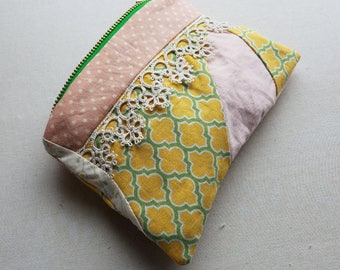 pink, green and yellow zippered pouch - make up case with vintage lace - quatrefoil and polka dot print patchwork case - melanie fabric case