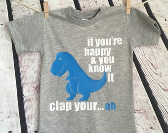 Dinosaur T Rex Clap Hands Cute Funny  Baby Onesie Romper Gift Any Color Dinosaur you wish! Personalized Free!