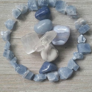 Somnolent Sleep Stones ~ Sweet, Soothing Vibes ~ Calming Serenity ~ Angelite, Blue Lace Agate, Calcite, Howlite, Blue Quartz ~ Peace, Sleep