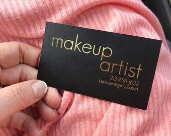 Gold Foil Business Cards, Lush Feel, Makeup Artist, Lipstick, Beauty Entrepreneur, Beauty Blogger, Equestrian, Black and Gold
