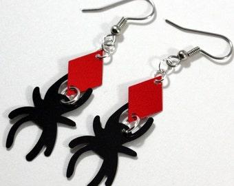 Halloween Earrings Black Spider Earrings Red Metallic Diamond Dangles Plastic Sequins