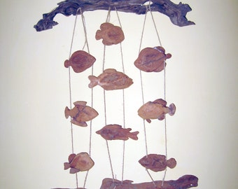 Driftwood wall art crafts fish hanging mobile mantel large art work drift wood decor wind chime