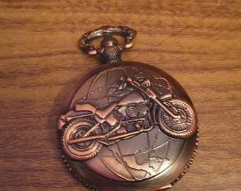 Bronze Colour Pocket Watch with Motorbike Design