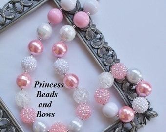 Shades of Pink and White Chunky Necklace and Bracelet,  Bubble Gum Bead Necklace, Girls Necklace,  Photo Prop