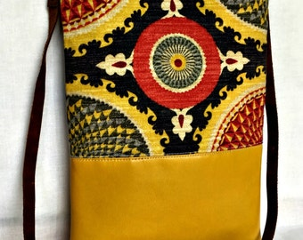 Leather Cross Body Bag, Tribal Cross Body Bag, Ikat Cross Body, Purse with Pockets, Yellow Black Red Cross Body Bag