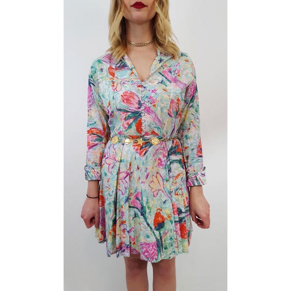 Vintage Late 60's Early 70s Floral Sun Dress Small Medium - Spring Watercolor Flower Print Swing Mini Dress - 1960s 1970s Long Sleeve Dress
