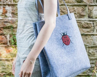 Embroidered Red Sparkling Ladybird Tote bag