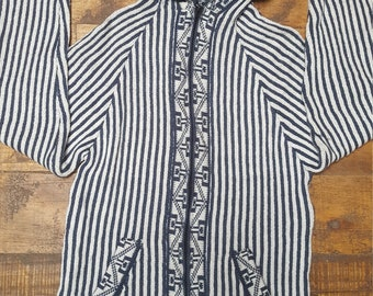 Blue and White Striped Alpaca Jumper Mens Large