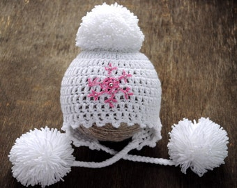 Newborn crochet Hat. Hat snowflake. Winter Hat. Hat with pompom. Photo prop Hat. Baby white Hat.