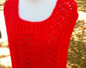 Cherry red knit vest