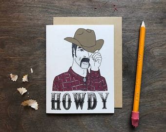 Funny Greeting Card, Hello Note Card, Just Because Card, Howdy Y'all, Blank Card, Cowboy Card