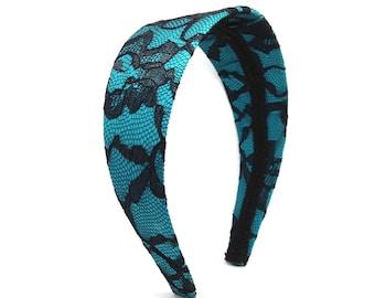 Black Lace & Teal Extra Wide Headband - Lace Headband - Adult Women's Headband, Girls Headbands, Teen Headband, Choose Width Headband