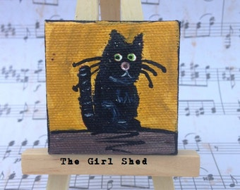 """Mini Acrylic Painting """"Black Cat""""- 2x2 Stretched Canvas with Easel"""