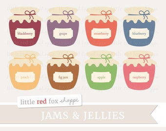 Jam & Jelly Clipart, Preserves Clip Art Grape Jar Strawberry Grape Apple Fig Peach Jellies Cute Digital Graphic Design Small Commercial Use
