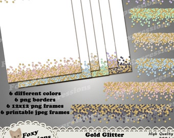 Gold Glitter Border and Frame digital pack comes png borders and frames for digital projects and jpeg frames for printing. Gold & 6 colors