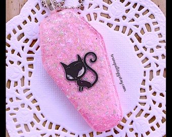 Coffin Necklace , Glitter Coffin , Cat Coffin Necklace , Pink Holographic Glitter Coffin Necklace , Handmade By: tranquilityy