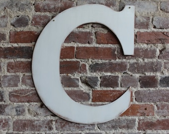 """18"""" Wooden Letter C, Rustic Wedding Guestbook, Classic Font in Distressed White - all letters available in many colors"""