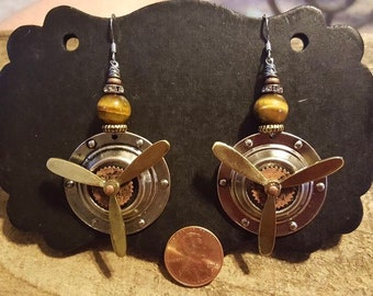 Handmade Jewelry- Tigers Eye Spinning Propellers