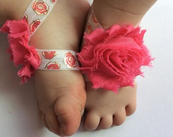 Baby barefoot sandals-rose- barefoot sandals- pink