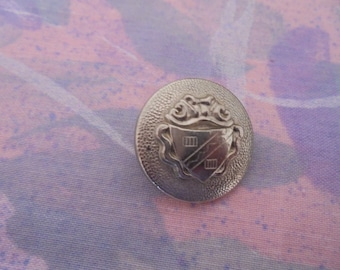 Set of 2 Vintage silver metal 22 mm buttons