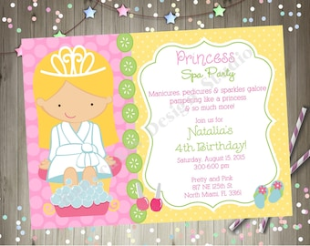 Princess Spa Party Invitation Invite Princess Spa Birthday Party Invitation Invite Printable Party CHOOSE YOUR GIRL