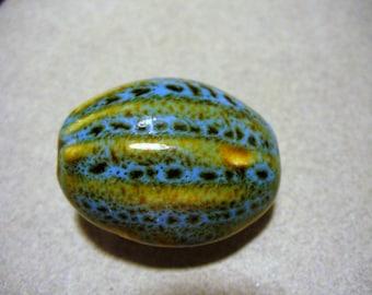 Pendant Porcelain Aqua & Honey Melon Oval  32x23MM