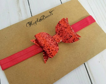 Red glitter headband.  Glitter bow headband. Big bow headband. Red headband. Newborn headband bow.  Toddler headbands.