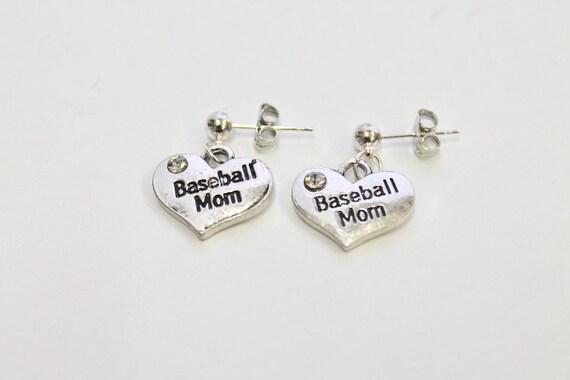 Baseball Mom Heart Earrings, Baseball Mom Earrings, Baseball Earrings, Gift For Her, Gift For Mom, Girlfriend Gift, Baseball Mom Gift